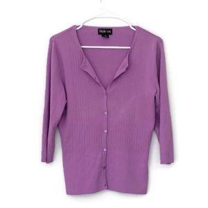 purple vintage Style & Co cardigan